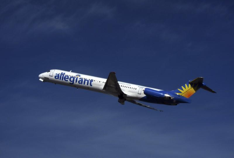 An Allegiant Air MD-83 passenger jet takes off from the Monterey airport