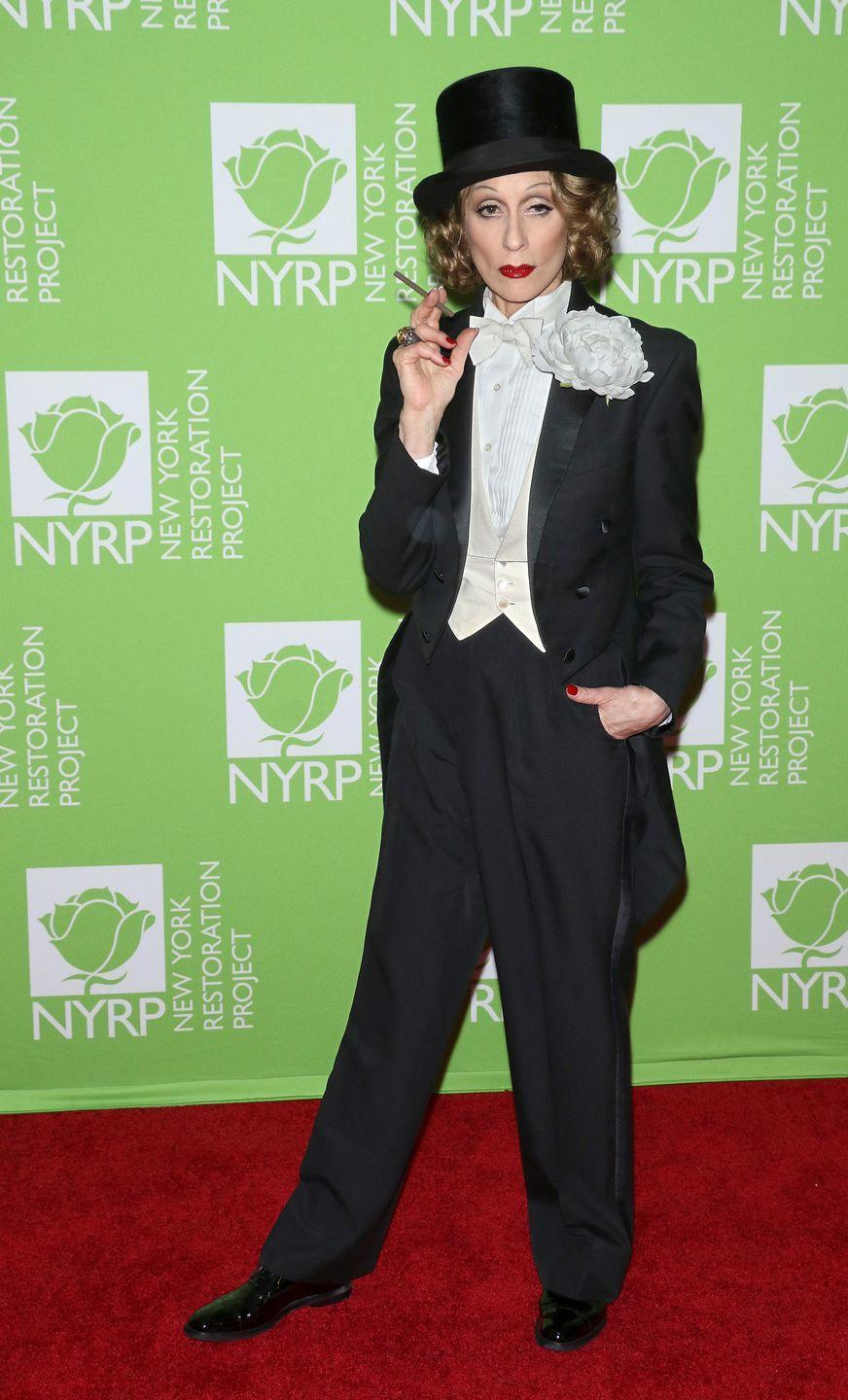 <p>Actress Judith Light rocked a tailored look as the trail-blazing Hollywood enigma at Bette Midler's 2019 Hulaween in New York City.</p>