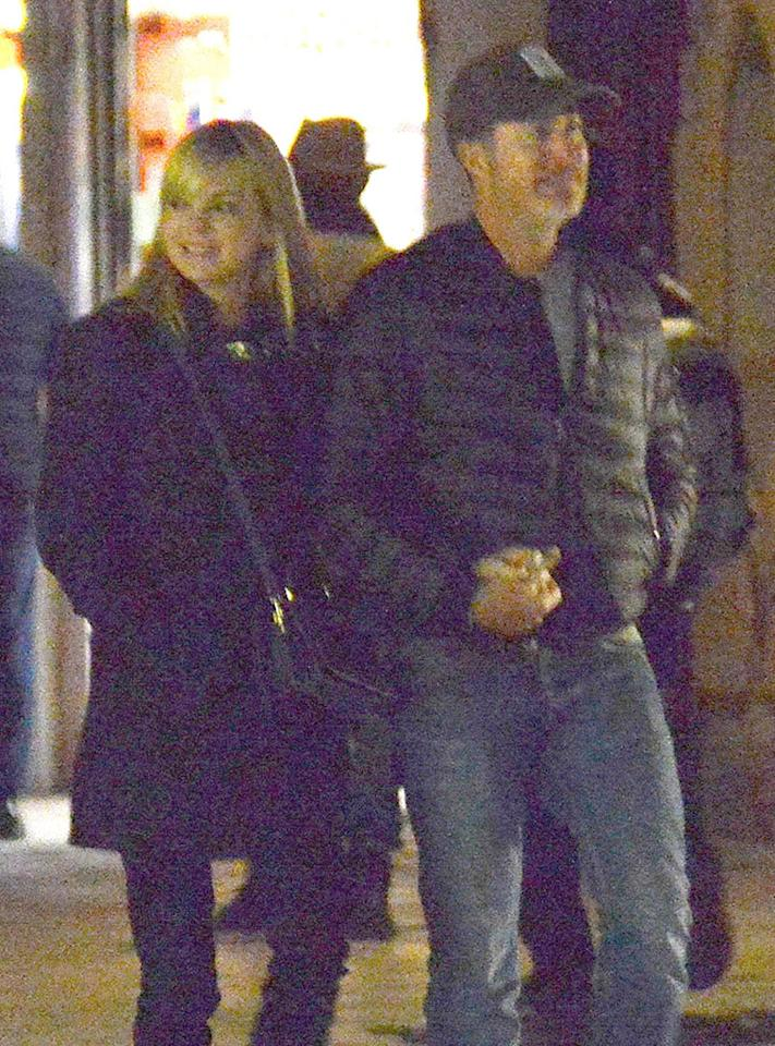 <p>That's amore! The new couple walked hand in hand in Venice, Italy, on Thursday. The <em>Mom</em> actress, 40, and the cinematographer, 47, stepped out of their hotel for a late-night stroll. (Photo: Ciao Pix/Backgrid) </p>