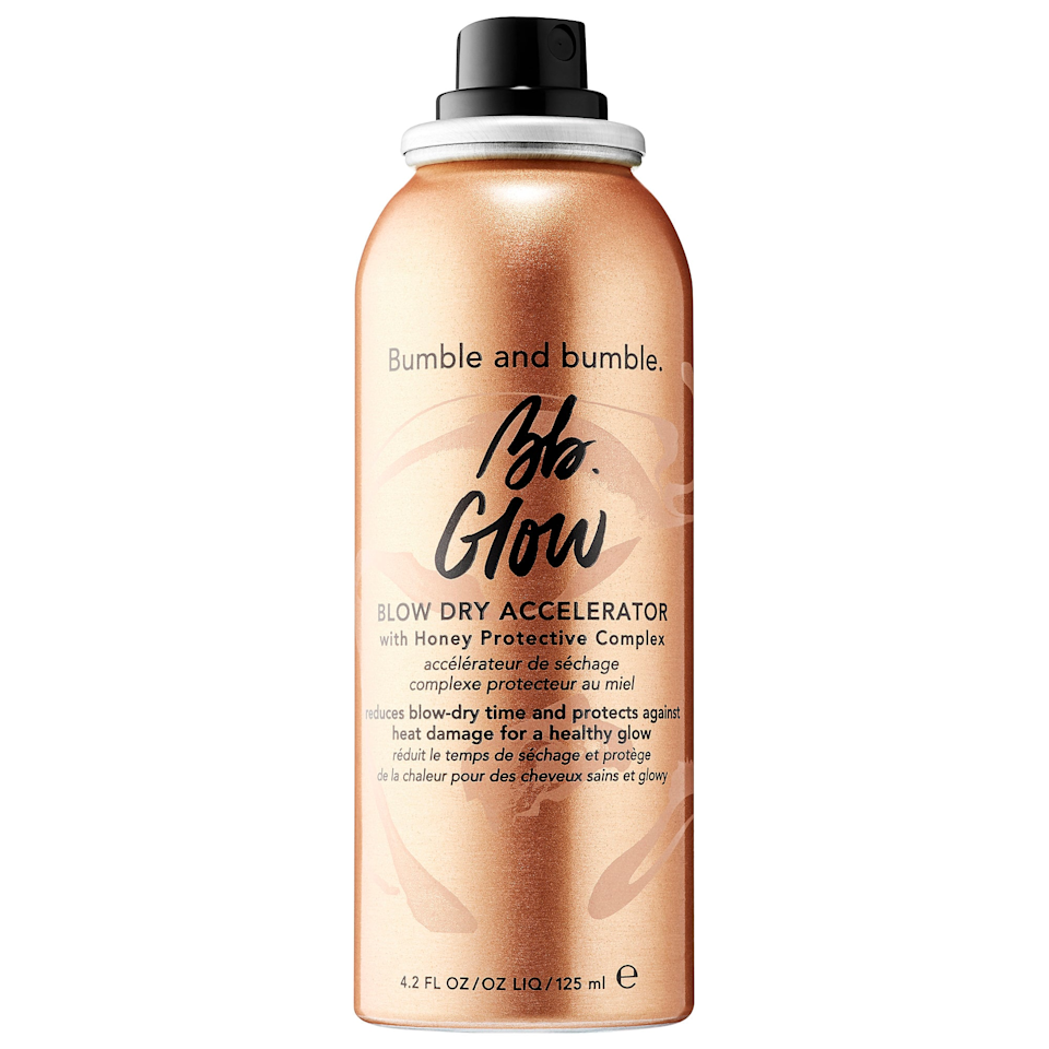 """$32, Bumble and Bumble Bb. Glow Blow Dry Accelerator. <a href=""""https://shop-links.co/1683319726321811307"""" rel=""""nofollow noopener"""" target=""""_blank"""" data-ylk=""""slk:Get it now!"""" class=""""link rapid-noclick-resp"""">Get it now!</a>"""