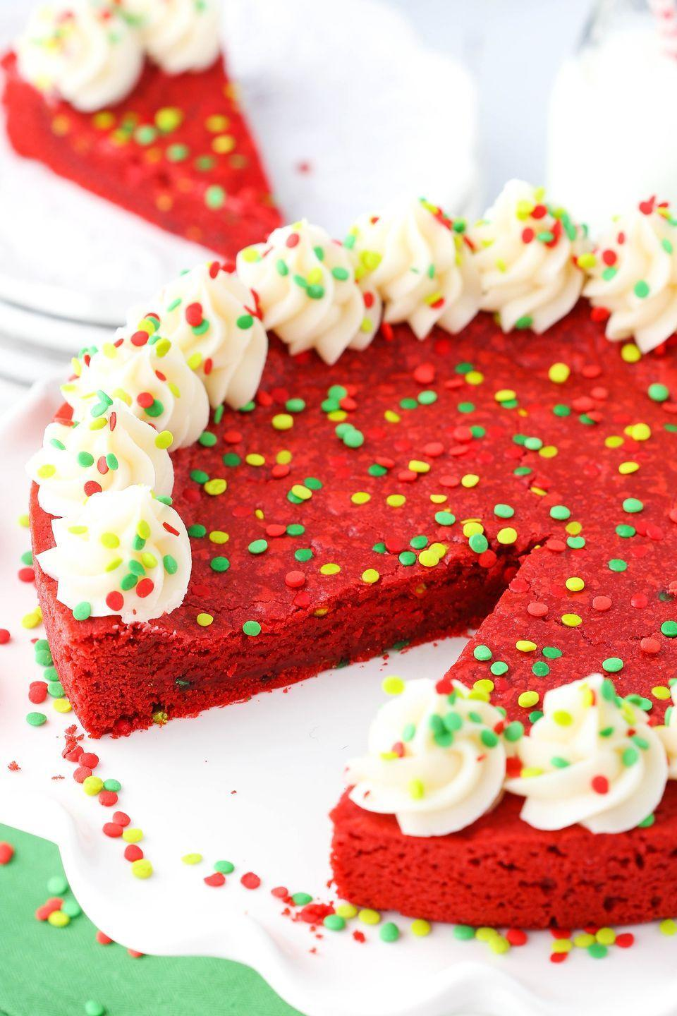 """<p>Cream cheese frosting seals the deal.</p><p>Get the recipe from <a href=""""https://www.delish.com/cooking/recipe-ideas/recipes/a50246/red-velvet-cookie-cake-recipe/"""" rel=""""nofollow noopener"""" target=""""_blank"""" data-ylk=""""slk:Delish"""" class=""""link rapid-noclick-resp"""">Delish</a>.</p>"""
