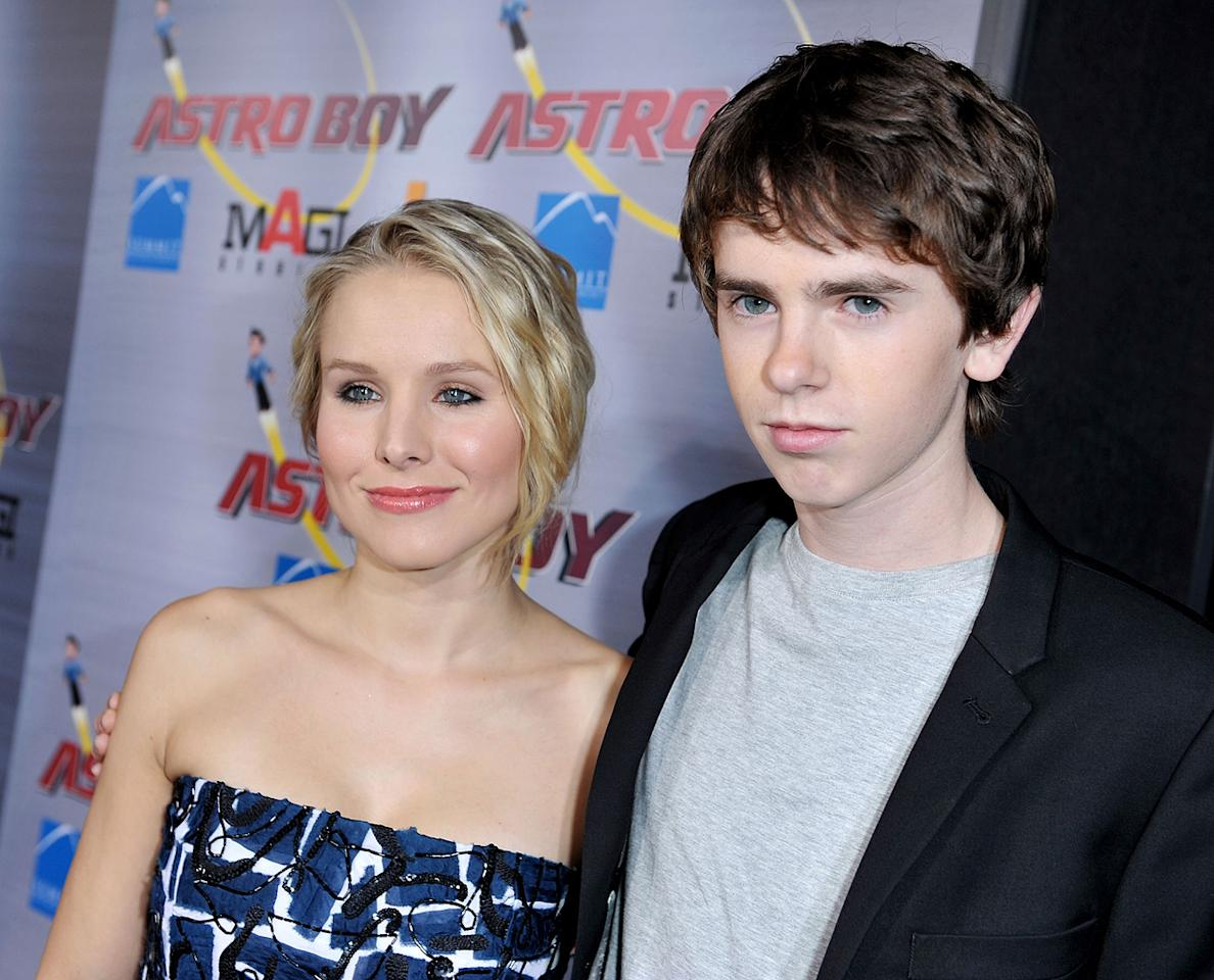 "<a href=""http://movies.yahoo.com/movie/contributor/1808491155"">Kristen Bell</a> and <a href=""http://movies.yahoo.com/movie/contributor/1804723464"">Freddie Highmore</a> at the Los Angeles premiere of <a href=""http://movies.yahoo.com/movie/1808461950/info"">Astro Boy</a> - 2009"