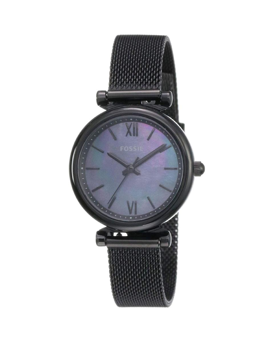 "<p><strong>Fossil</strong></p><p>amazon.com</p><p><strong>$77.08</strong></p><p><a href=""https://www.amazon.com/dp/B07NDPNN61?tag=syn-yahoo-20&ascsubtag=%5Bartid%7C10058.g.3961%5Bsrc%7Cyahoo-us"" rel=""nofollow noopener"" target=""_blank"" data-ylk=""slk:Shop Now"" class=""link rapid-noclick-resp"">Shop Now</a></p><p>A black mesh watch dripping with sex appeal. </p>"