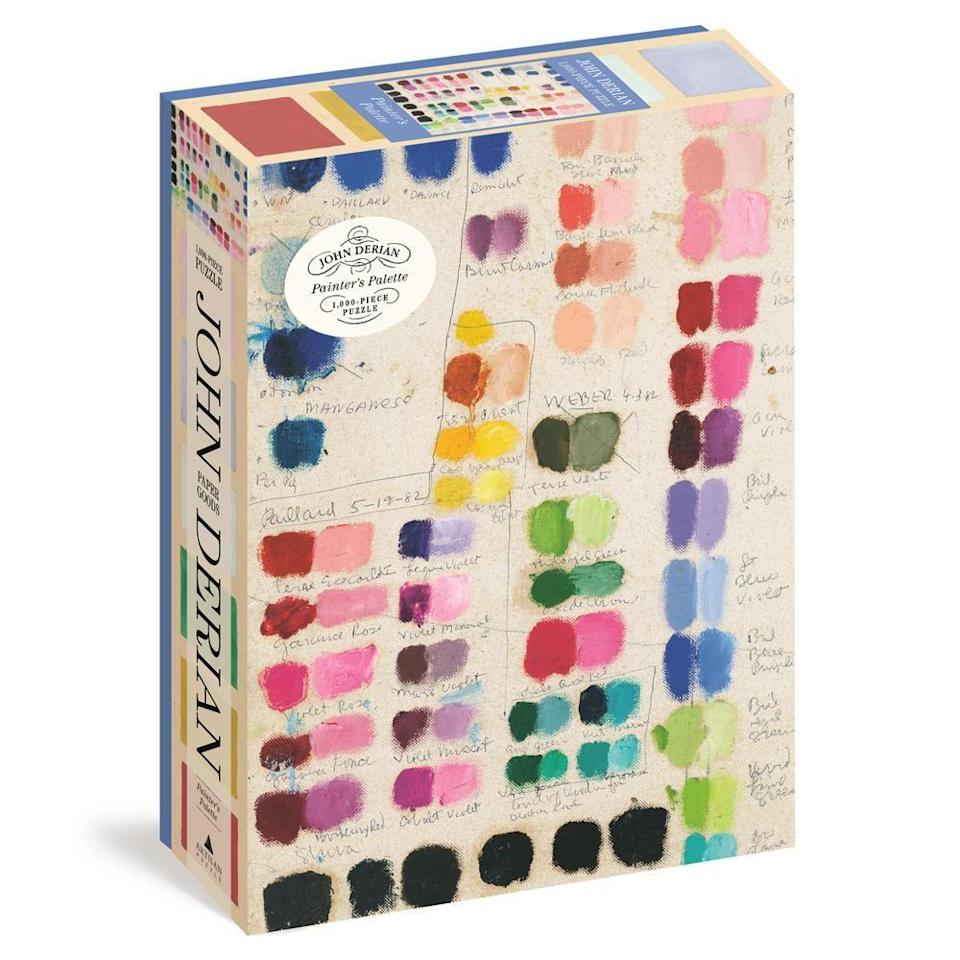 """<p><strong>John Derian</strong></p><p>johnderian.com</p><p><strong>$19.95</strong></p><p><a href=""""https://www.johnderian.com/products/painters-palette-1-000-piece-puzzle?_pos=3&_sid=5a805555e&_ss=r"""" rel=""""nofollow noopener"""" target=""""_blank"""" data-ylk=""""slk:Shop Now"""" class=""""link rapid-noclick-resp"""">Shop Now</a></p><p>This stunning puzzle will be a joy to complete together, one piece at a time.</p>"""