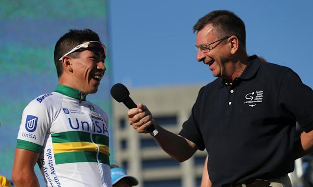 "<span class=""element-image__caption"">Veteran cycling commentator Paul Sherwen interviews Caleb Ewan during the Tour Down Under cycling event teams presentation in Adelaide in 2014.</span> <span class=""element-image__credit"">Photograph: Mark Gunter/AFP/Getty Images</span>"