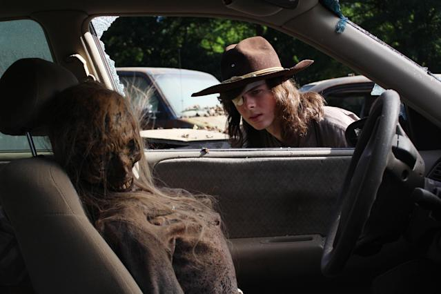 Chandler Riggs as Carl Grimes in 'The Walking Dead' (Photo Credit: Greg Nicotero/AMC)