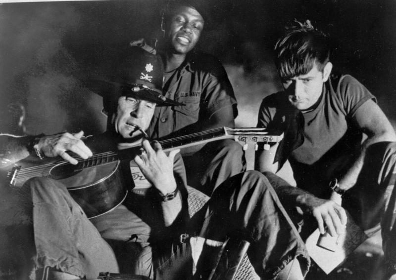 "FILE - In this undated file photo released by United Artists, from left, Robert Duvall as Lt. Col. Kilgore, Albert Hall as Chief and Martin Sheen as Capt. Willard, are shown in the film ""Apocalypse Now,"" a United Artists release. (AP Photo/United Artists, File)"