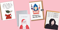 """<p>It's almost Christmas, which means it's time to mail holiday cards to all of your friends, family members, co-workers, and acquaintances. For most people on your Christmas-card list, you'll want to send something traditional: A <a href=""""https://www.goodhousekeeping.com/holidays/christmas-ideas/g23831599/christmas-card-photo-ideas/"""" rel=""""nofollow noopener"""" target=""""_blank"""" data-ylk=""""slk:family holiday photo"""" class=""""link rapid-noclick-resp"""">family holiday photo</a> or a classic card with a wreath, tree, or Santa on the front. Don't forget to write a <a href=""""https://www.goodhousekeeping.com/holidays/christmas-ideas/a23707988/what-to-write-in-a-christmas-card/"""" rel=""""nofollow noopener"""" target=""""_blank"""" data-ylk=""""slk:sweet message inside"""" class=""""link rapid-noclick-resp"""">sweet message inside</a> and wish the recipient a happy holiday and an incredible new year. </p><p>But for the people you're super close with, you might want to send something more creative. Enter: a funny Christmas card. Ahead, we've found the best lighthearted Christmas cards that show the sillier side of the holiday season. Some include funny <a href=""""https://www.goodhousekeeping.com/holidays/christmas-ideas/a35399/christmas-jokes/"""" rel=""""nofollow noopener"""" target=""""_blank"""" data-ylk=""""slk:Christmas jokes"""" class=""""link rapid-noclick-resp"""">Christmas jokes</a> and references to our favorite <a href=""""https://www.goodhousekeeping.com/holidays/christmas-ideas/g1315/best-christmas-movies/"""" rel=""""nofollow noopener"""" target=""""_blank"""" data-ylk=""""slk:Christmas movies"""" class=""""link rapid-noclick-resp"""">Christmas movies</a>, while others reflect on the major events of the past year (and as we all know, 2020 had a <em>lot </em>of those). No matter what your card says, the message of each of these funny Christmas cards is clear: Let's stop taking the holidays so seriously and make time a good laugh. </p>"""