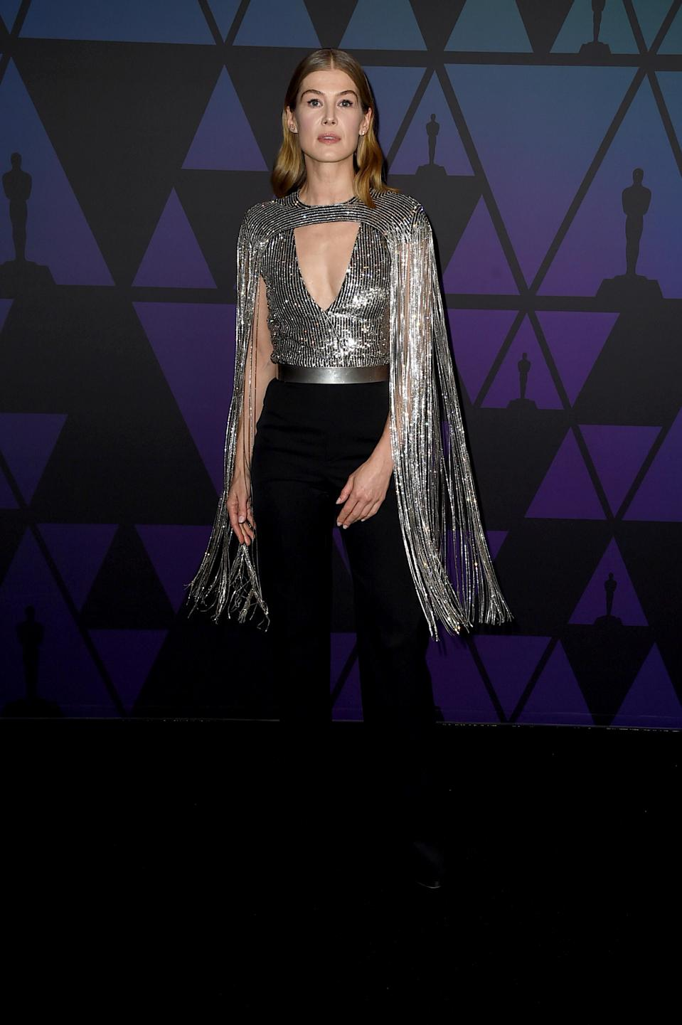 <p>Rosamund wore a Givenchy outfit to attend the Academy of Motion Picture Arts and Sciences' 10th annual Governors Awards at The Ray Dolby Ballroom at Hollywood & Highland Center in Hollywood, California. <em>[Photo: Getty]</em> </p>