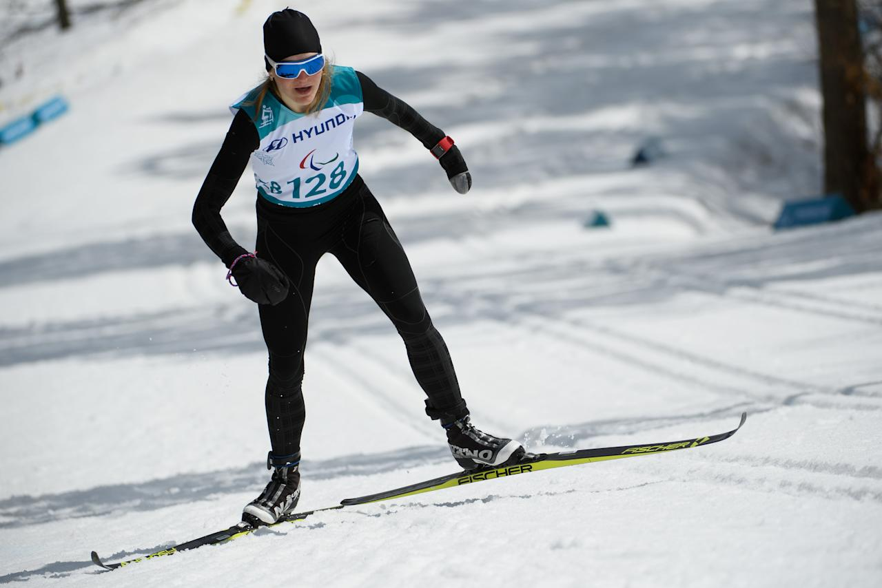 Ekaterina Rumyantseva, a Paralympic Athlete from Russia, competes during the Cross Country Skiing Women's Standing 7.5km Classic at the Alpensia Biathlon Centre. The Paralympic Winter Games, PyeongChang, South Korea, Saturday 17th March 2018.OIS/IOC/Thomas Lovelock/Handout via Reuters