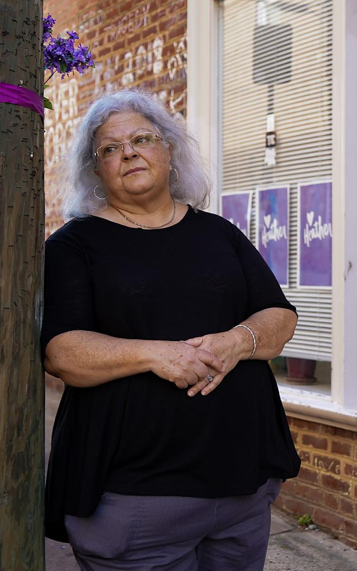 Susan Bro, mother of Heather Heyer, who was killed during the Unite the Right rally in Charlottesville, Va., in August 2017, visits her daughter's memorial regularly.