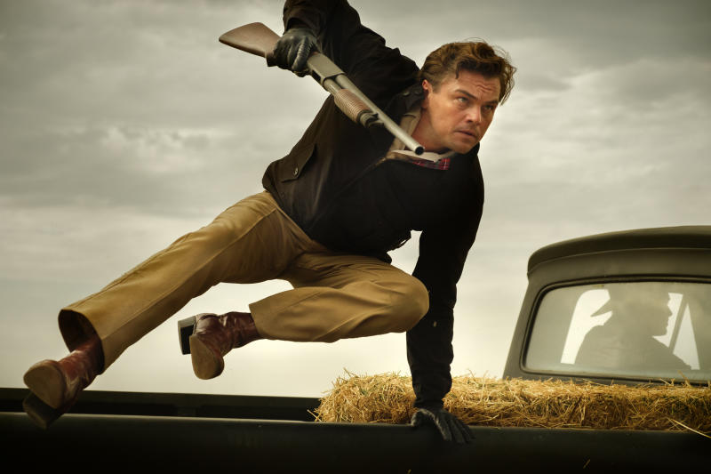 """This image released by Sony Pictures shows Leonardo DiCaprio in Quentin Tarantino's """"Once Upon a Time ... in Hollywood.""""  (Andrew Cooper/Sony-Columbia Pictures via AP)"""