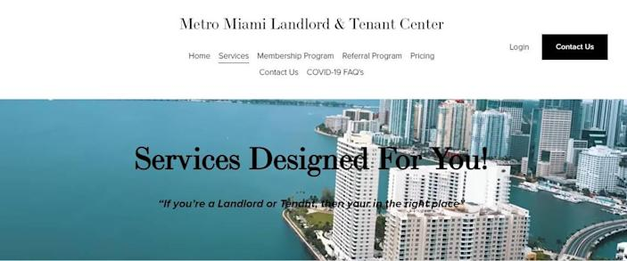 Screen shot of the Metro Miami Landlord and Tenant Services Center website, which offers various services for landlords and tenants.