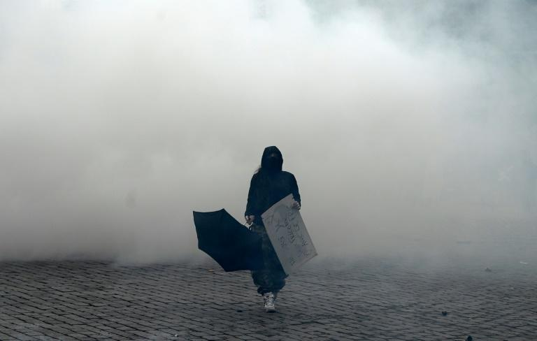 The Place d'Italie in Paris filled with tear gas as the clashes continued