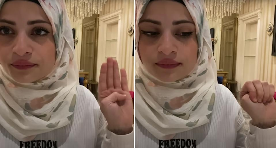 Syrian Youtuber, Om Sayf (pictured) made a final video where she showed the hand symbol for domestic violence