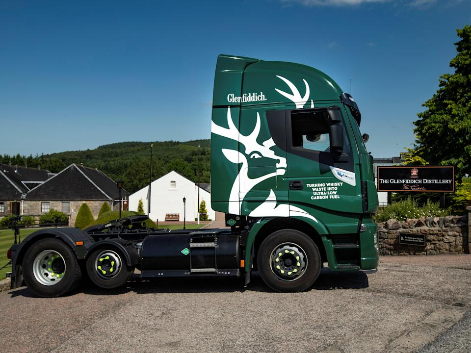 One of the new Glenfiddich delivery lorries which runs on by-products from whisky production (via REUTERS)