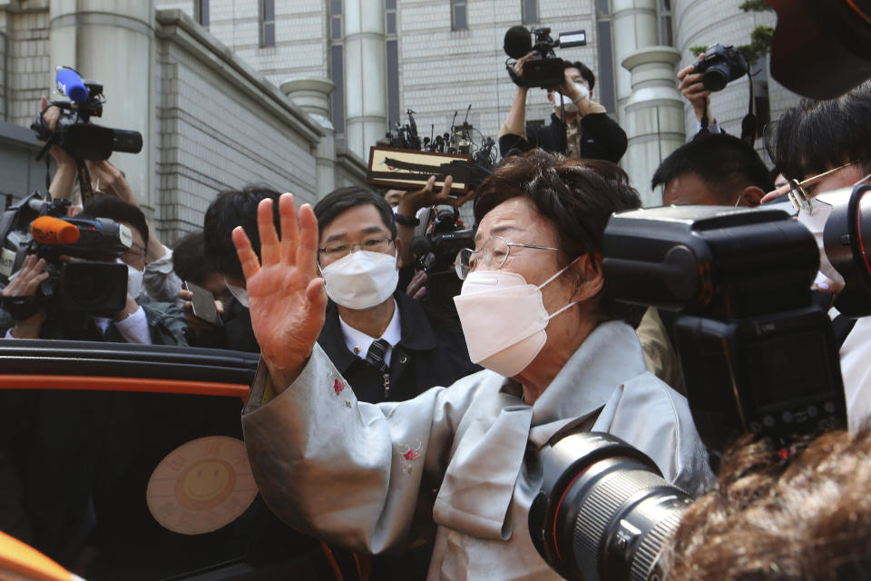 Former South Korean comfort woman Lee Yong-soo speaks before leaving the Seoul Central District Court in Seoul, South Korea, Wednesday, April 21, 2021. A South Korean court on Wednesday rejected a claim by South Korean sexual slavery victims and their relatives who sought compensation from the Japanese government over their wartime sufferings. (AP Photo/Ahn Young-joon)