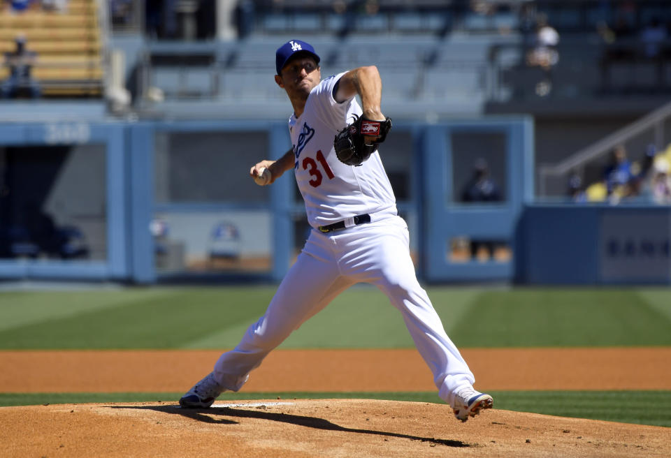 Los Angeles Dodgers starting pitcher Max Scherzer throws in the first inning against the San Diego Padres in a baseball game Sunday, Sept. 12, 2021, in Los Angeles, Calif. (AP Photo/John McCoy)