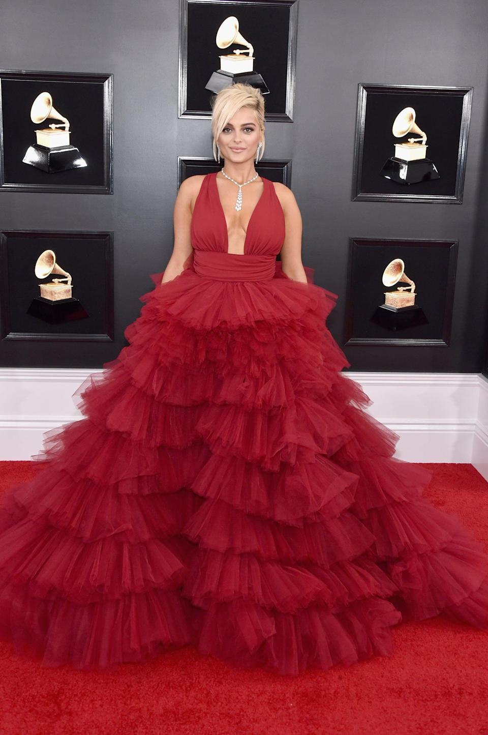 """<p>Wearing a Monsoori dress, after <a rel=""""nofollow noopener"""" href=""""https://www.popsugar.com/fashion/Bebe-Rexha-Says-Designers-Wont-Dress-Her-Grammys-45703169"""" target=""""_blank"""" data-ylk=""""slk:speaking up about having a hard time finding designers who would dress her for the red carpet"""" class=""""link rapid-noclick-resp"""">speaking up about having a hard time finding designers who would dress her for the red carpet</a>. Bebe accessorized with a Hearts on Fire ring and Giuseppe Zanotti shoes.</p>"""