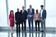 <p>The Sussexes met Governor Kathy Hochul, New York City Mayor Bill de Blasio, his wife Chirlane McCray, and son Dante de Blasio at the One World Trade Center Observatory. </p>