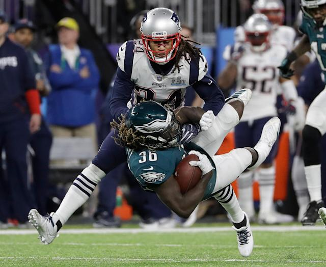 <p>Philadelphia Eagles' Jay Ajayi (36) is stopped by New England Patriots' Stephon Gilmore during the first half of the NFL Super Bowl 52 football game Sunday, Feb. 4, 2018, in Minneapolis. (AP Photo/Matt Slocum) </p>