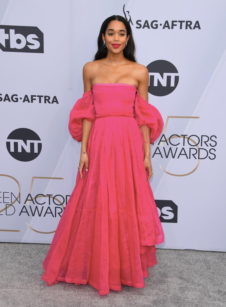 <p>Wearing a pink Loewe gown with Bulgari jewels.</p>
