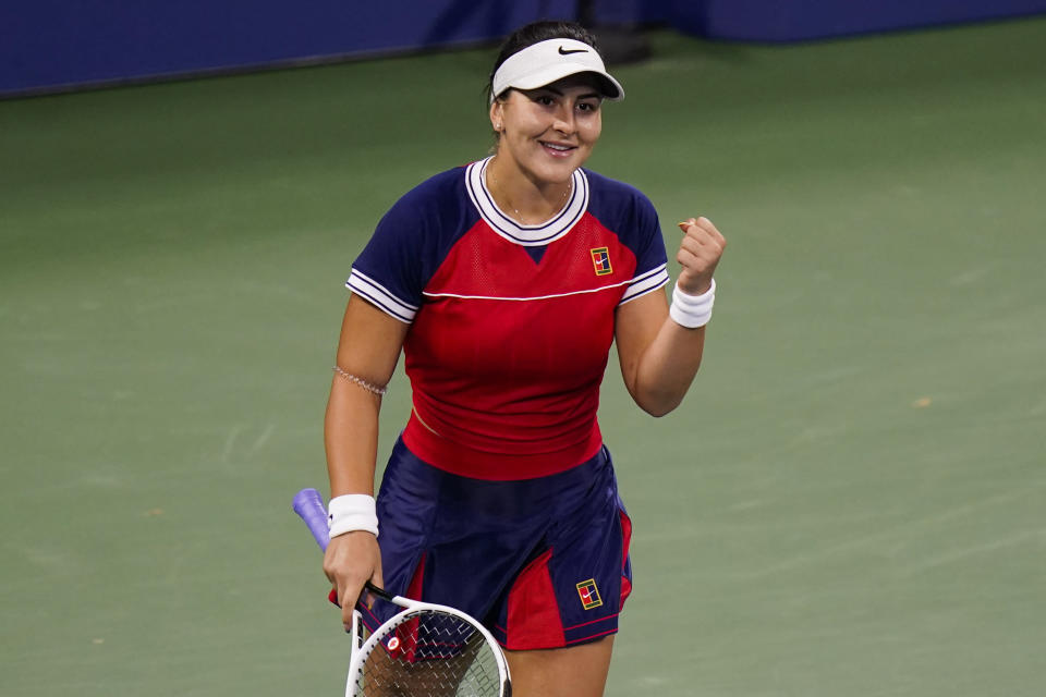 Bianca Andreescu, of Canada, reacts after winning her match against Lauren Davis, of the United States, during the second round of the US Open tennis championships, Thursday, Sept. 2, 2021, in New York. (AP Photo/Frank Franklin II)