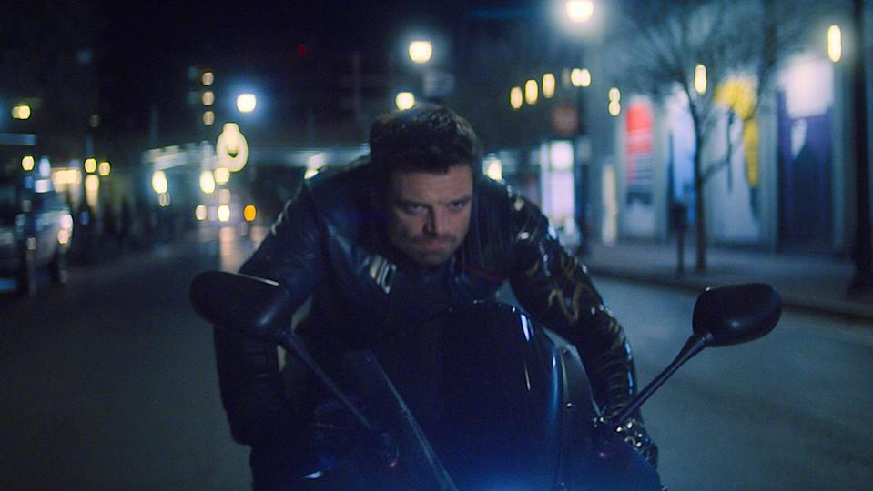 Bucky Barnes drives a bike angrily in The Falcon and the Winter Soldier