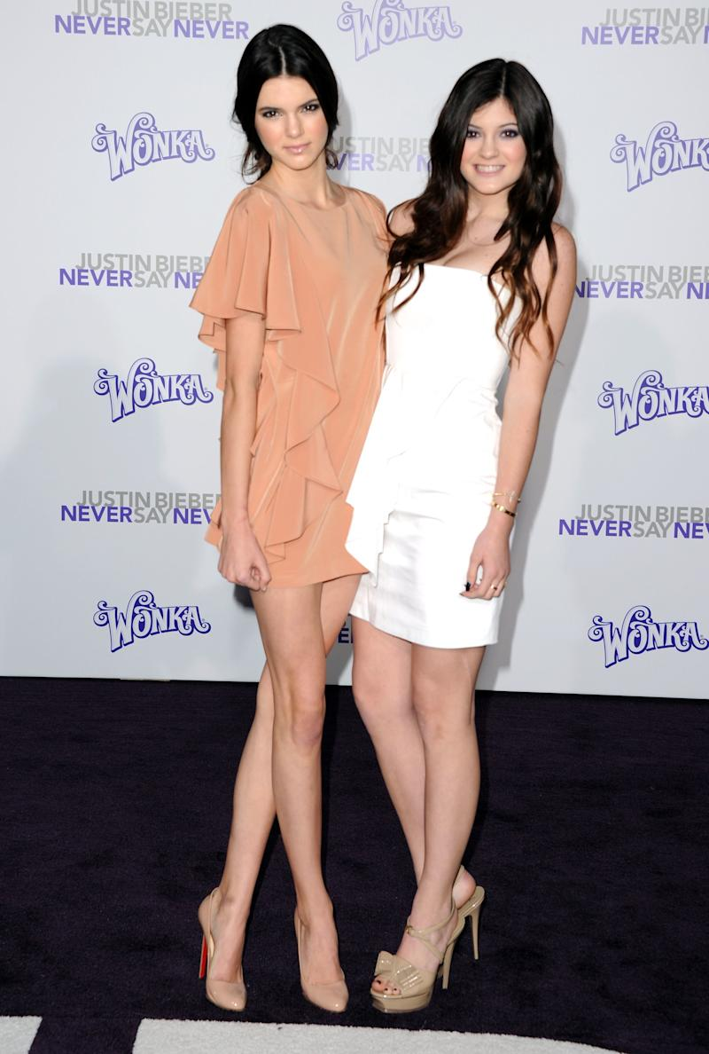 Kendall and Kylie Jenner at the premiere of Justin Bieber: Never Say Never in Los Angeles, February 2011.