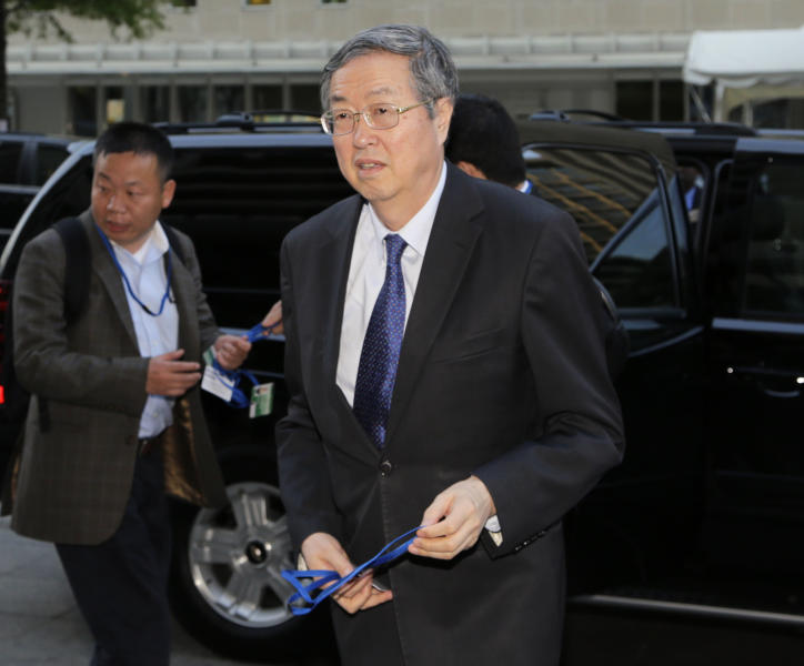 Zhou Xiaochuan, Governor of the People's Bank of China, arrives for a G-20 dinner, during the Spring Meetings of the World Bank Group and the International Monetary Fund Thursday, April 18, 2013, in Washington. (AP Photo/Alex Brandon)