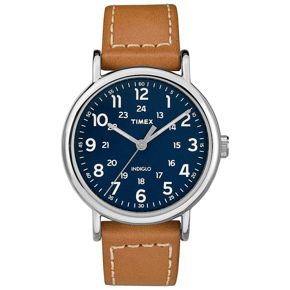 "<p>Gift him a sleek watch he'll never take off.</p><br><br><strong>Timex</strong> Men's Weekender 40mm Watch, $37.04, available at <a href=""https://www.amazon.com/Timex-TW2R42500-Weekender-Brown-Leather/dp/B071K5ZV2T"" rel=""nofollow noopener"" target=""_blank"" data-ylk=""slk:Amazon"" class=""link rapid-noclick-resp"">Amazon</a>"