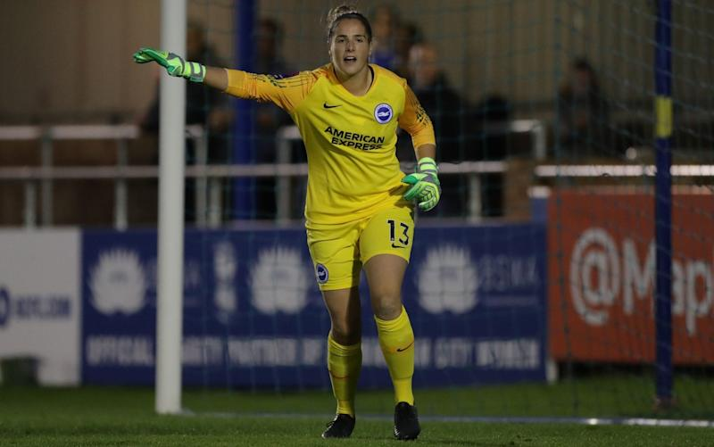 Crystal Palace Women's goalkeeper Lucy Gillett (pictured in 2018 playing for Brighton) suffered sexist and body-shaming abuse and said she would walk off the pitch if it were to happen again - REX