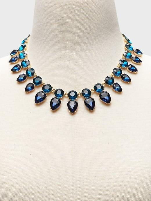 <p>Your neckline is front and center so we love this <span>Banana Republic Gemstone Necklace</span> ($68) to add a little pop of color!</p>