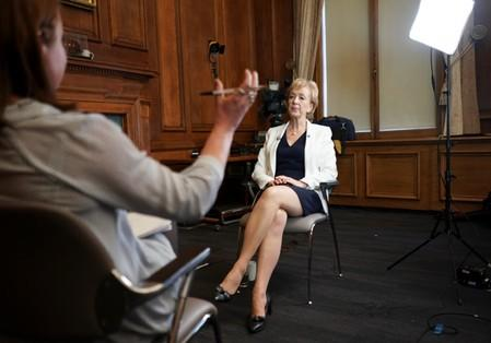 British Conservative Andrea Leadsom speaks during an interview with Reuters, after launching her campaign for the Conservative Party leadership, in London