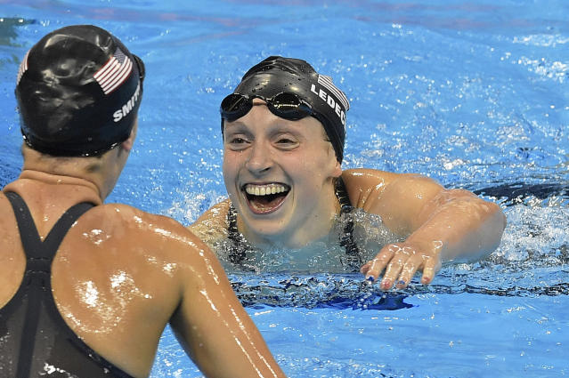 Katie Ledecky won her third gold in the Rio Games in Wednesday's relay. (AP)