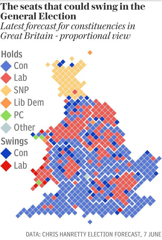Proportional map: The seats that could swing in the General Election
