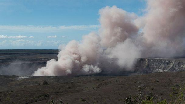 In this Friday, May 11, 2018 photo released by the U.S. Geological Survey, an ash plume rises from the Overlook Vent in Halema'uma'u crater of the Kilauea volcano on the Big Island of Hawaii. (AP)