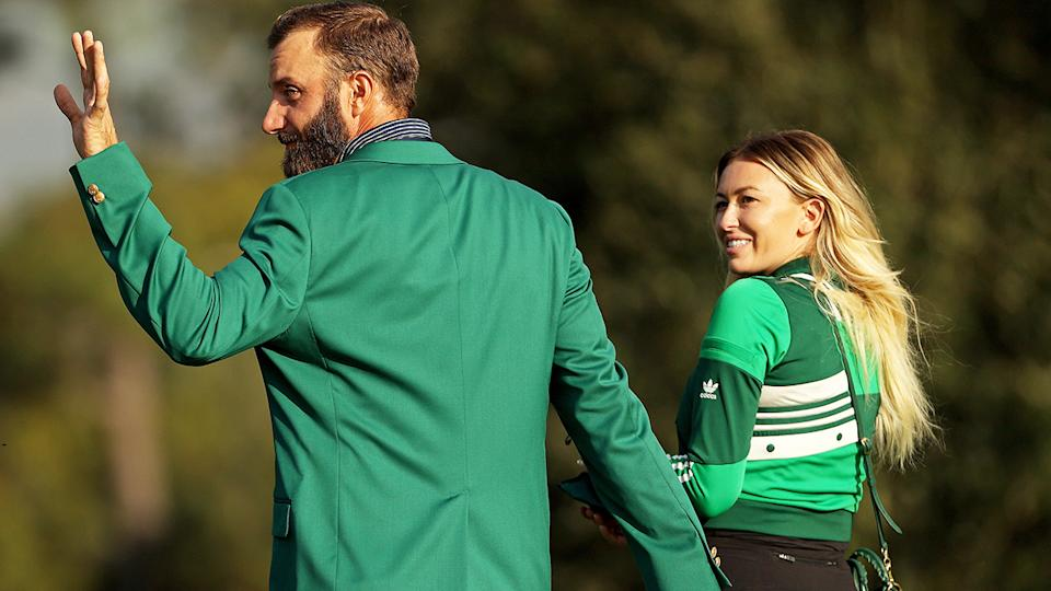 Dustin Johnson, pictured here celebrating with Paulina Gretzky after winning the Masters.