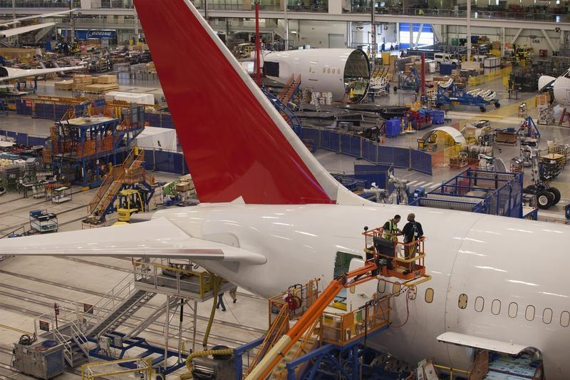 Workers at South Carolina Boeing construct a 787 Dreamliner for Air India at the plant's final assembly building in North Charleston