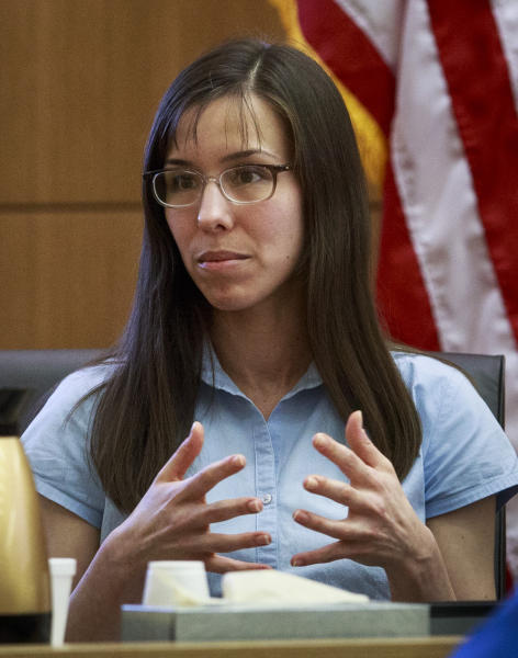 Defendant Jodi Arias testifies on her behalf during her murder trial in Judge Sherry Stephens' Superior Court in Phoenix, on Tuesday, Feb. 5, 2013. Arias is charged in the stabbing and shooting death of her lover. She first took the stand Monday in a case that has been peppered with lurid stories of sex, lies, betrayal and violence. (AP Photo/The Arizona Republic, Charlie Leight)