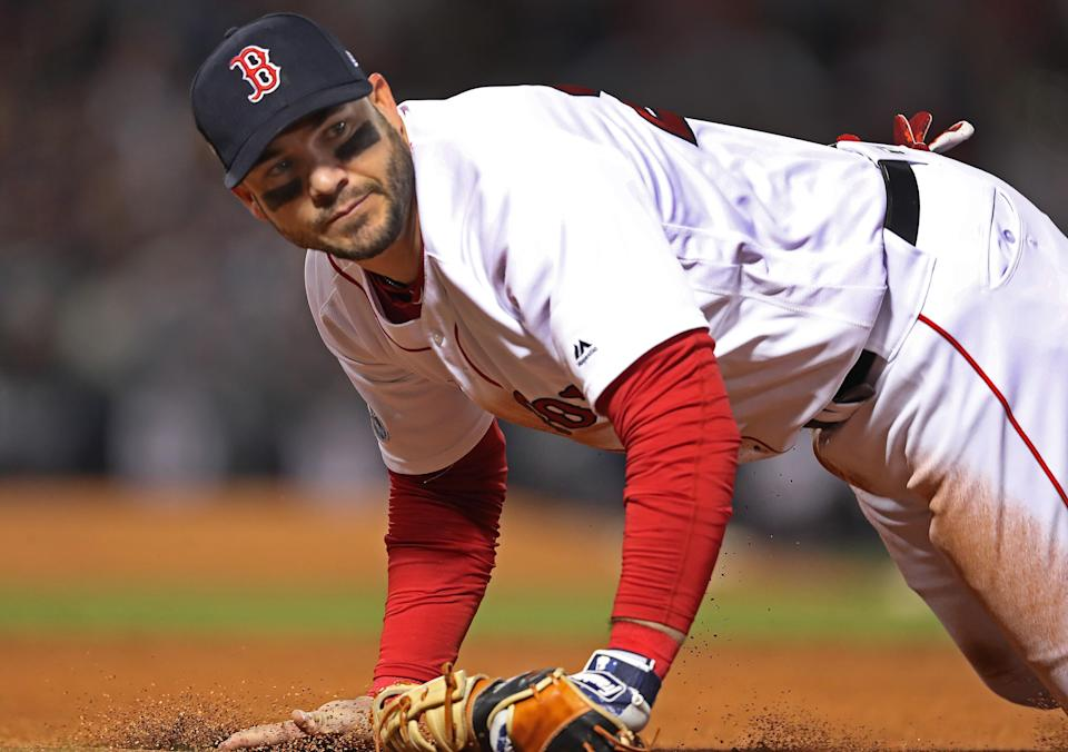 Red Sox 1B Steve Pearce in game 2 of the ALCS baseball matchup at Fenway Park. (Jim Davis/Boston Globe via Getty Images)