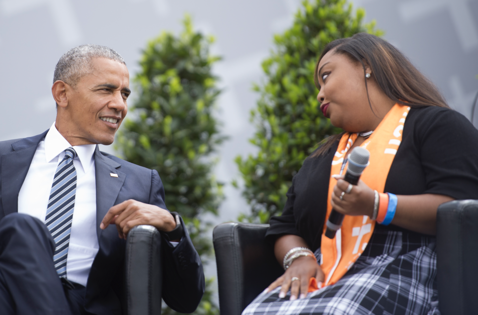 Former President of the United States of America Barack Obama discusses democracy with students at Church Congress on May 25, 2017 in Berlin, Germany. (Photo: Steffi Loos/Getty Images)