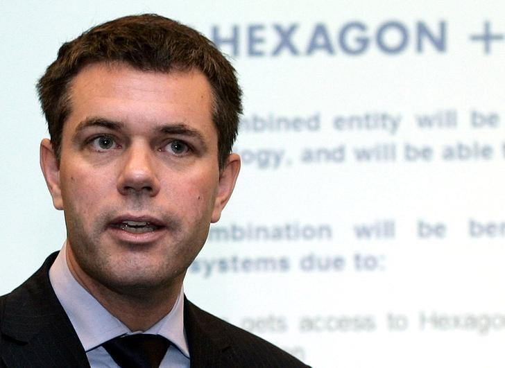 Ola Rollen, Chief executive of the Swedish engineering group Hexagon gestures during a news