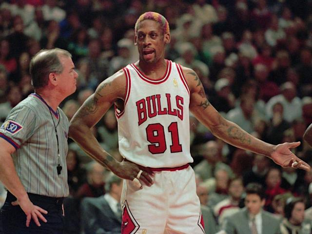 One of the greatest rebounders in NBA history, Dennis Rodman recorded 20+ rebounds in 159 games and earned seven rebounding titles in his career.