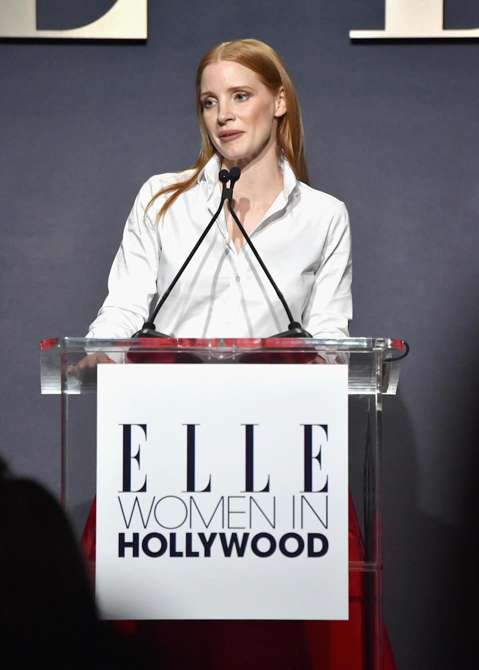 Jessica Chastain speaks at the <em>Elle</em> Women in Hollywood Awards in L.A. on Oct. 16, 2017. (Photo: Getty Images)