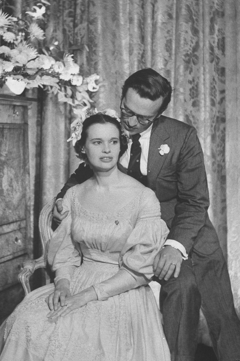 <p>Director Sidney Lumet sits with his new wife Gloria during their wedding reception. Lumet was her third husband and they were married from 1955 to 1963.</p>