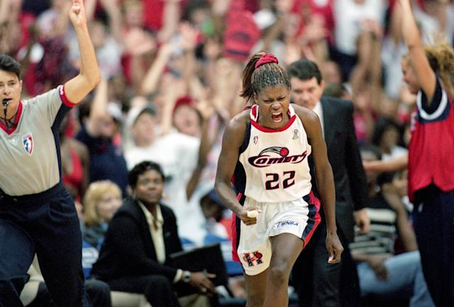 Sheryl Swoopes won four WNBA title with the Houston Comets. (Ronald Martinez /Allsport)
