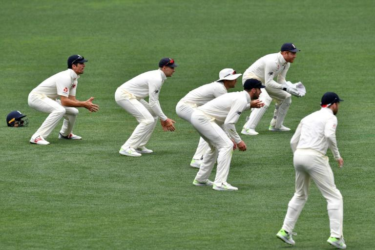 England's fielders get ready behind the stumps against Cricket Australia XI on the last day of a four-day Ashes tour, at Adelaide Oval, on November 11, 2017