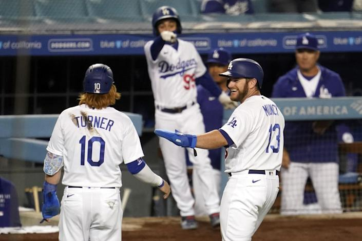 Dodgers players congratulate each other