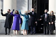 <p>From left to right, Doug Emhoff, Vice President-elect Kamala Harris, Jill Biden, and President-elect Joe Biden wave as they arrive on the East Front of the U.S. Capitol for the inauguration.</p>